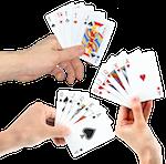 3 Hände mit Casino-Spielkarten