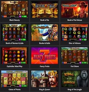 Übersicht mit Online-Spielautomaten